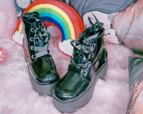 Black Hologram Patent Nosebleed Boot