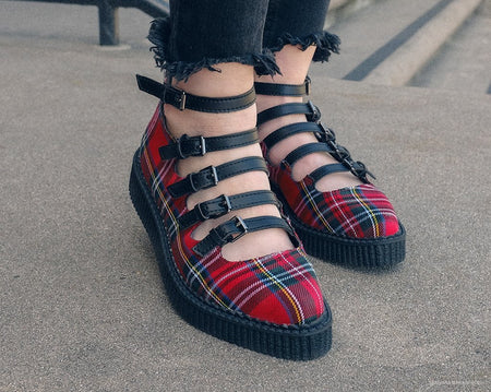 Red Plaid Multi-Strap Mary Jane Creeper