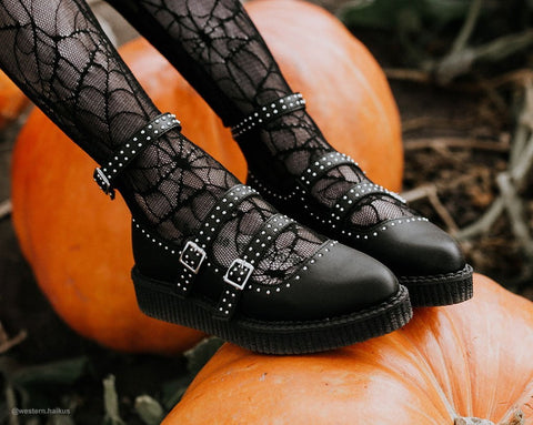 Black TUKskin™ Studded Pointed Ballet Creeper