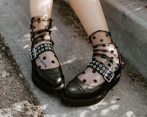 Black TUKskin™ Eyelet Strap Pointed Ballet Creeper