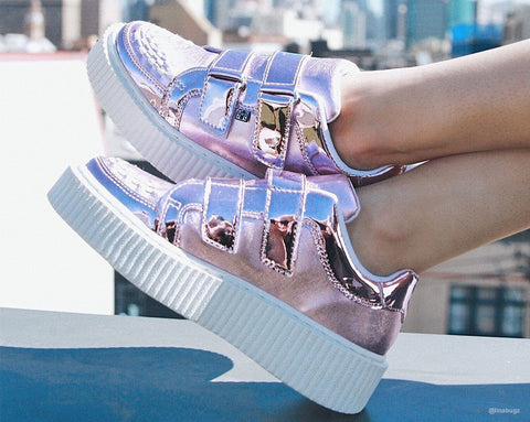 Pink Metallic Double Velcro Casbah Creeper