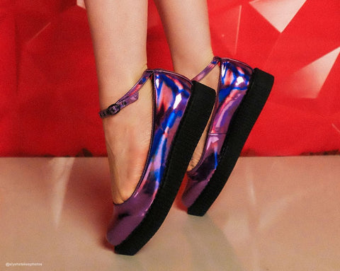 Lavender Iridescent Ballet Ankle Strap Creeper