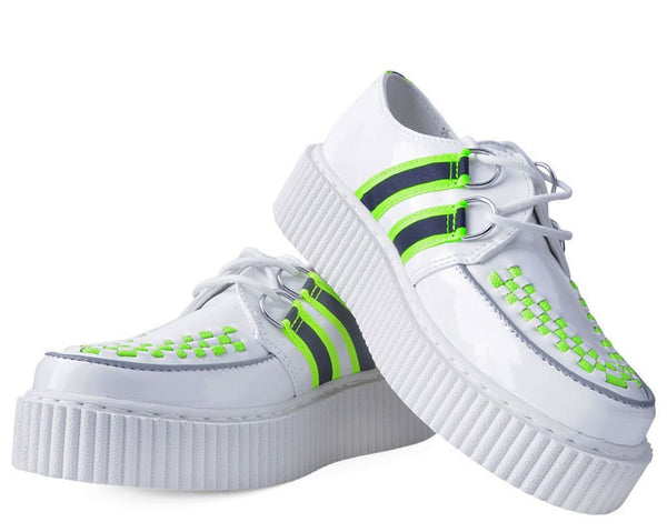 White Patent Reflective Stripe Casbah Creeper