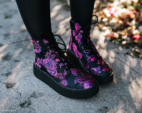 Black & Purple Floral Casbah Boot