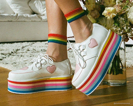 White & Pink Heart Rainbow Platform Creepers
