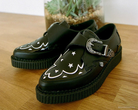 Black & White Star Western Pointed Buckle Creeper