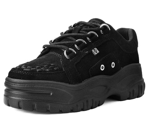 Black Suede Wave Platform Creeper Sneaker