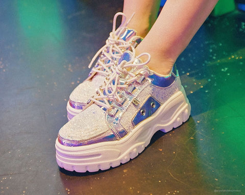 Ice Glitter Wave Platform Creeper Sneaker