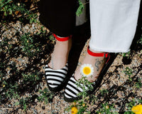 B/W Stripe & Red Patent Pointed Sandal