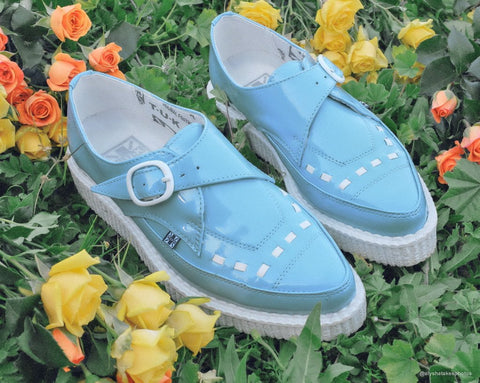 Baby Blue Patent Pointed Buckle Creeper