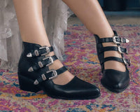 Black Western Buckle Block Heel