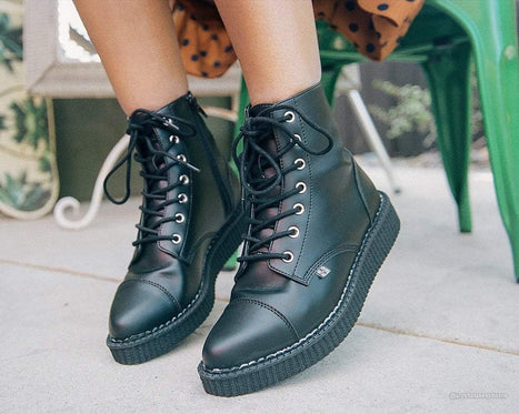 Vegan Pointed Lace Up Creeper Boots
