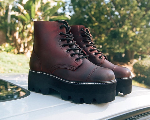 Burgundy 7-Eye Dino Lug Sole Boot