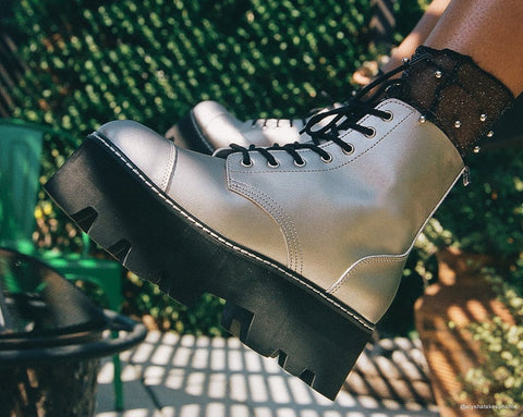 Silver 7-Eye Dino Lug Sole Boot