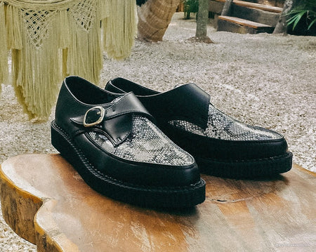 Black & Grey Snake Pointed Buckle Creeper