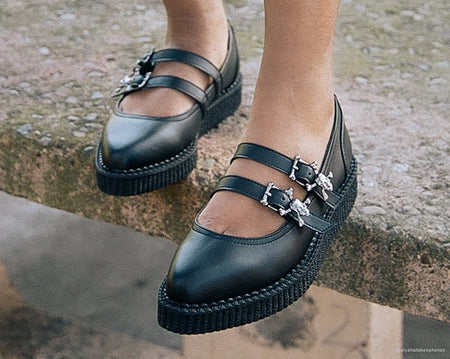 Black Skull Buckle Pointed Mary Jane Creeper