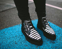 Black & White Stripe 3-Buckle Pointed Boot