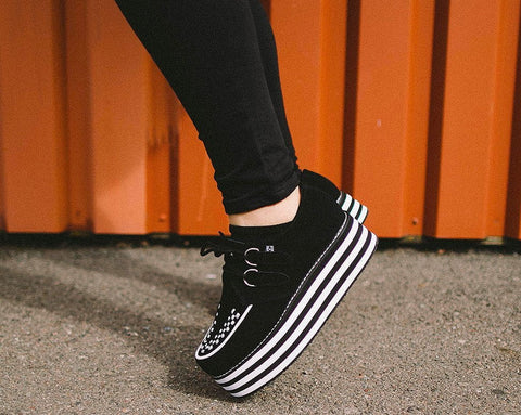 Black Suede Striped Stack Creeper