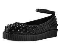 Black Spiked Pointed Ballet Ankle Strap Creeper