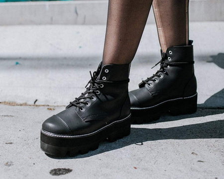 Black 7-Eye Dino Lug Sole Boot