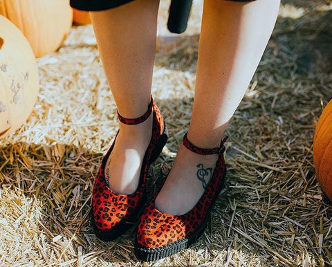 Red Leopard Pointed Ballet Ankle Strap Creeper