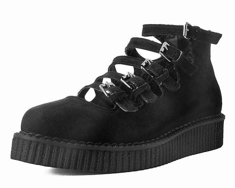 Black Faux Suede Multi-Strap Pointed Mary Jane Creeper