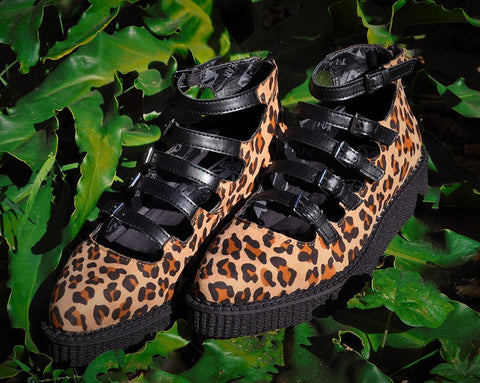 Leopard Faux Suede Multi-Strap Pointed Mary Jane Creeper
