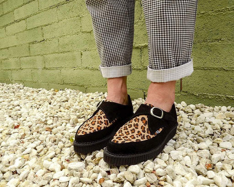 Black Suede Leopard Monk Buckle Pointed Creeper