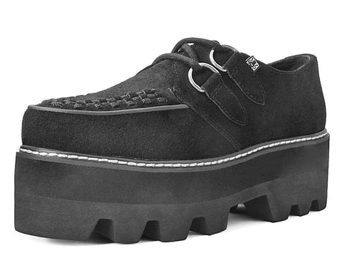 Black Suede D-Ring Dino Lug Creeper