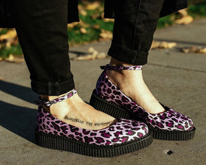 Purple Leopard Pointed Ballet Creeper