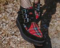 Black & Red 3-Buckle Pointed Creeper Boot