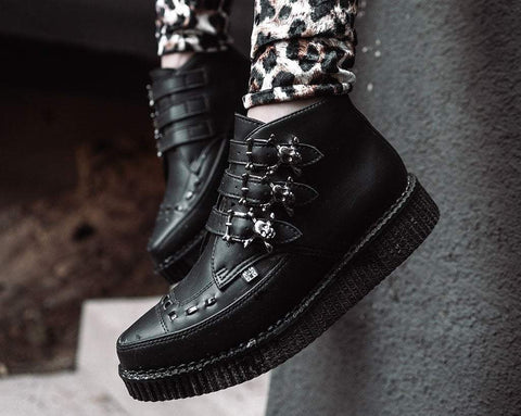 Black TUKskin™ 3-Buckle Skull Boot