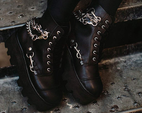 Black 7-Eye Chain & Strap Dino Lug Boot