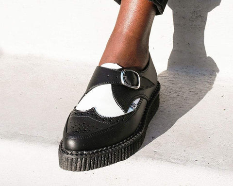 Black & White Vegan TUKskin™ Wing Buckle Pointed Creeper