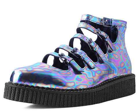 Chrome Oil Slick 5-Strap Pointed Mary Jane Creeper