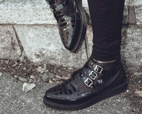 Black Matte & Patent Stripe Pointed Viva Mondo Boot