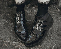 Black Matte & Patent Stripe Pointed 3-Buckle Boot
