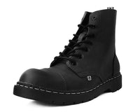 Black Waxy 7-Eye Capped Toe Boot