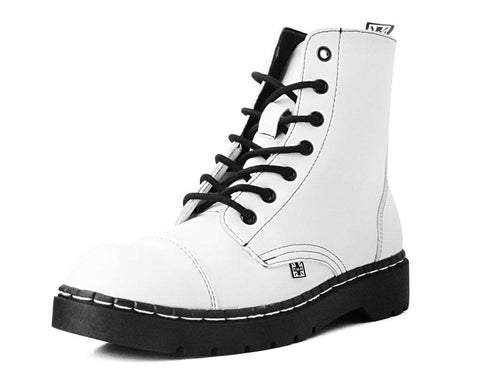 White TUKskin™  7-Eye Capped Toe Boot