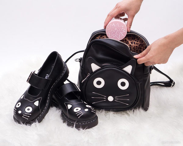 Black Faux Leather Kitty Backpack