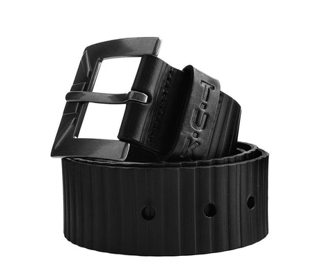 Black Leather 40mm Ridged Belt