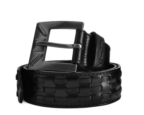 Black Leather 40mm Interlace Belt