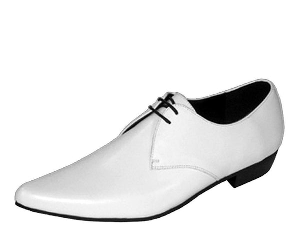 White Leather Winklepicker Tie Shoe