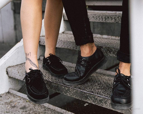Black Cow Suede Viva II Low Sole Creepers
