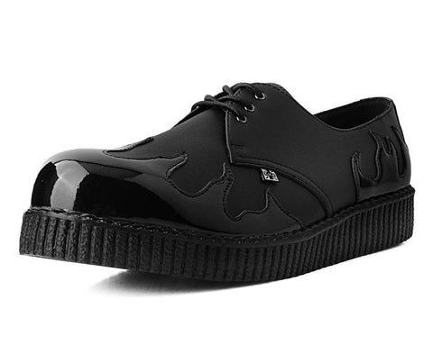 Black TUKskin™ & Patent Flame Pointed Creeper