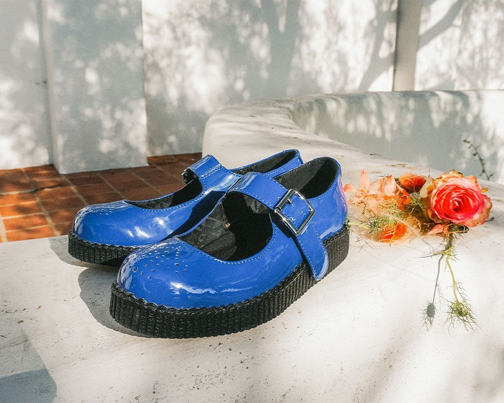 Glossy Blue Patent Mary Jane