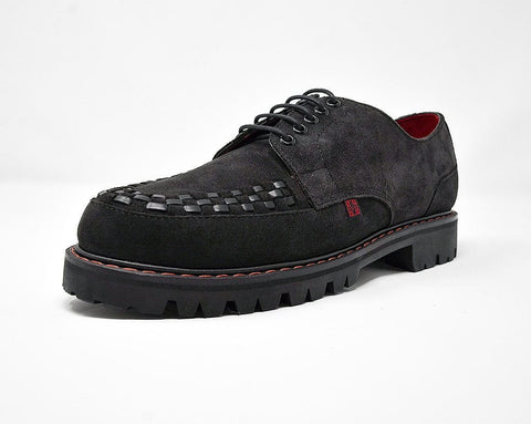 Black Suede Interlace T.U.K. RED Creeper