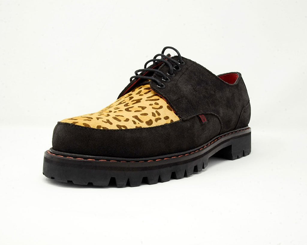 Black Suede Leopard T.U.K. RED Creeper
