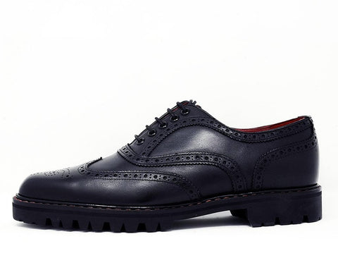 Black Leather Pointed T.U.K. RED Wingtip