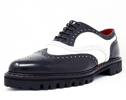 Black & White Leather Pointed T.U.K. RED Wingtip